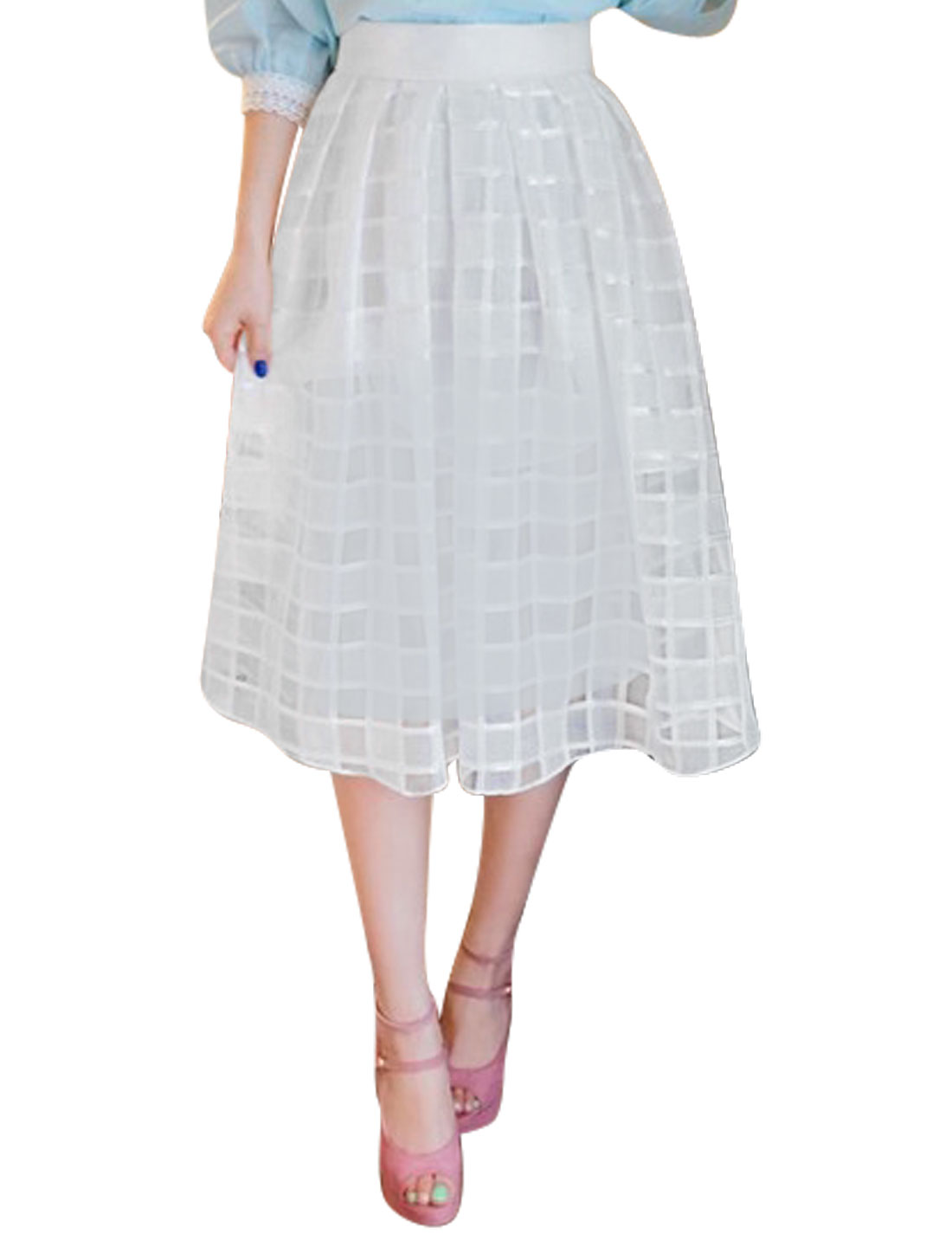 Ladies Mid Rise Elastic Waist Fully Lined Casual Organza Skirt White S
