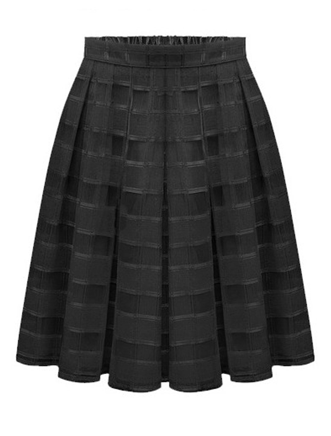 Women Mid Rise Elastic Waist Fully Lined Casual Organza Skirts Black S