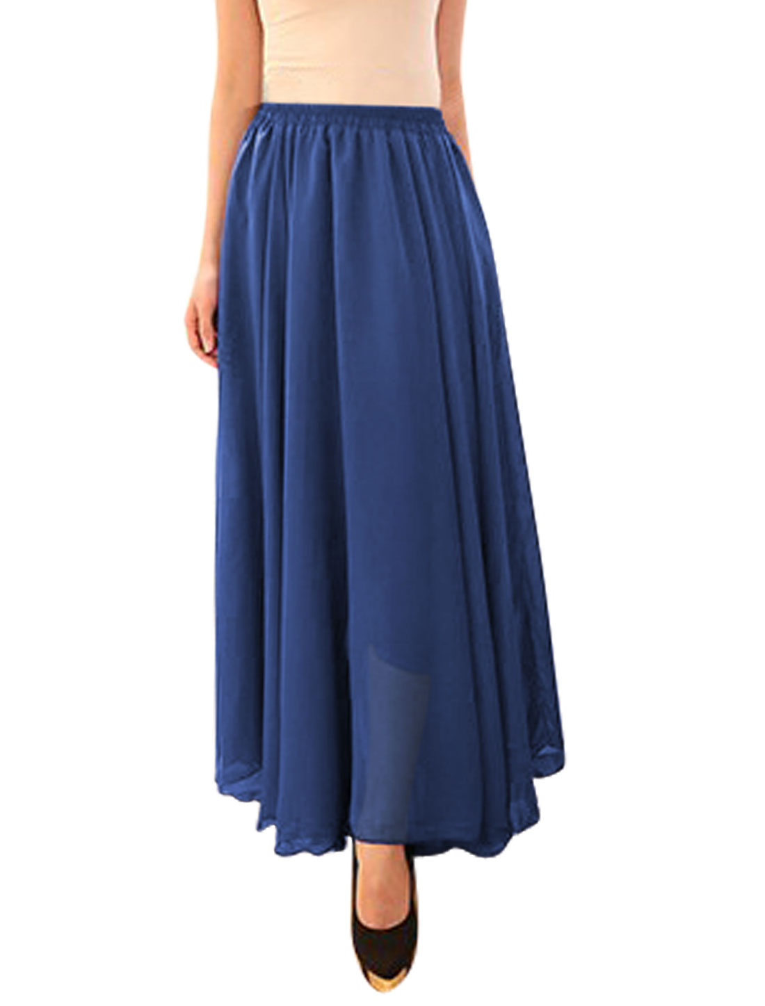 Ladies Mid Rise Elastic Waist Fully Lined Casual Long Skirts Royal Blue S