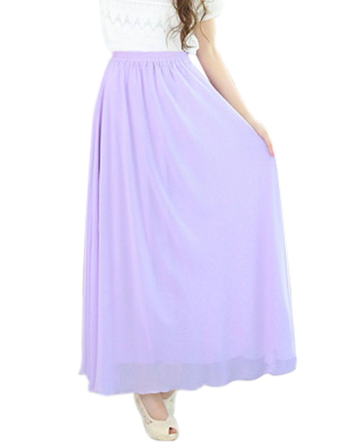 Women Mid Rise Elastic Waist Fully Lined Casual Maxi Skirts Lavender S