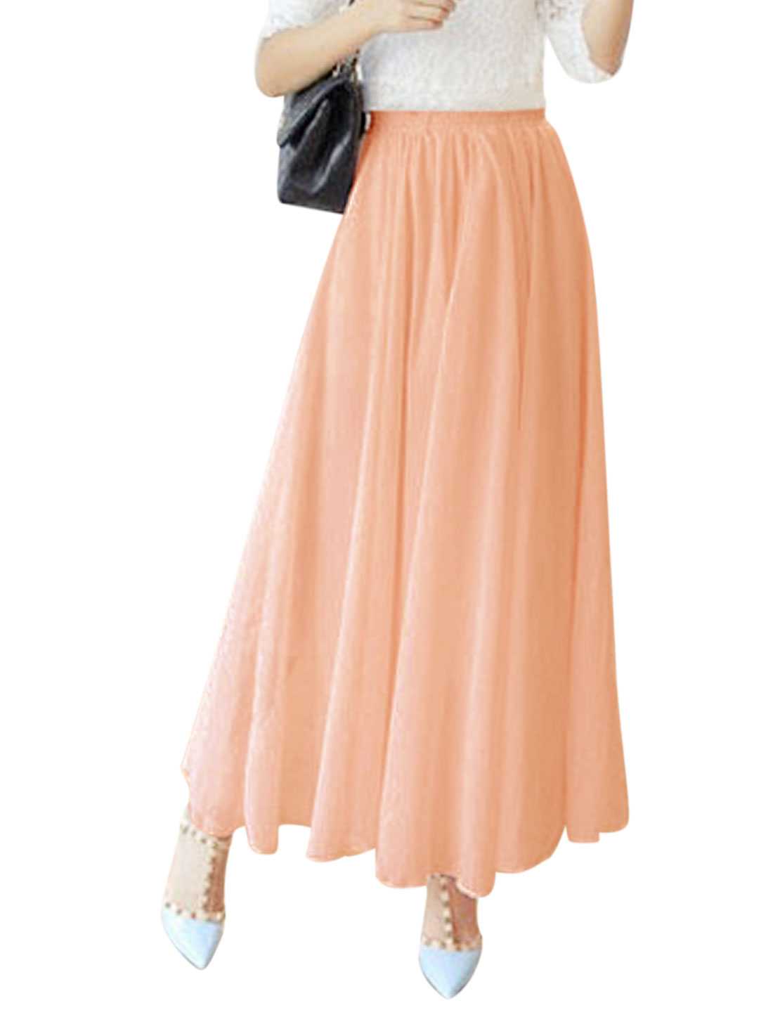 Women Mid Rise Elastic Waist Fully Lined Casual Chiffon Skirt Pale Pink S