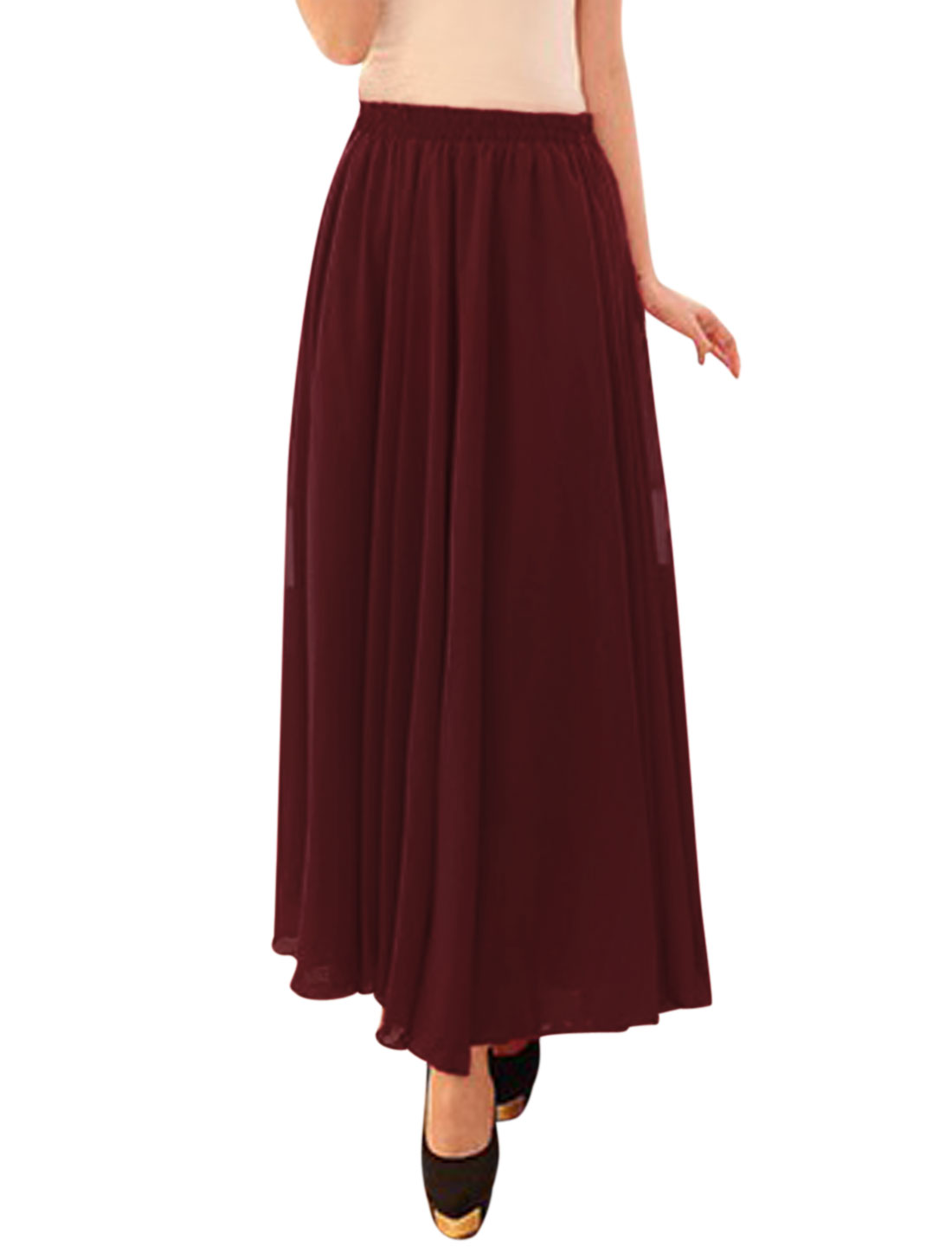 Women Mid Rise Elastic Waist Fully Lined Casual Maxi Skirts Burgundy S
