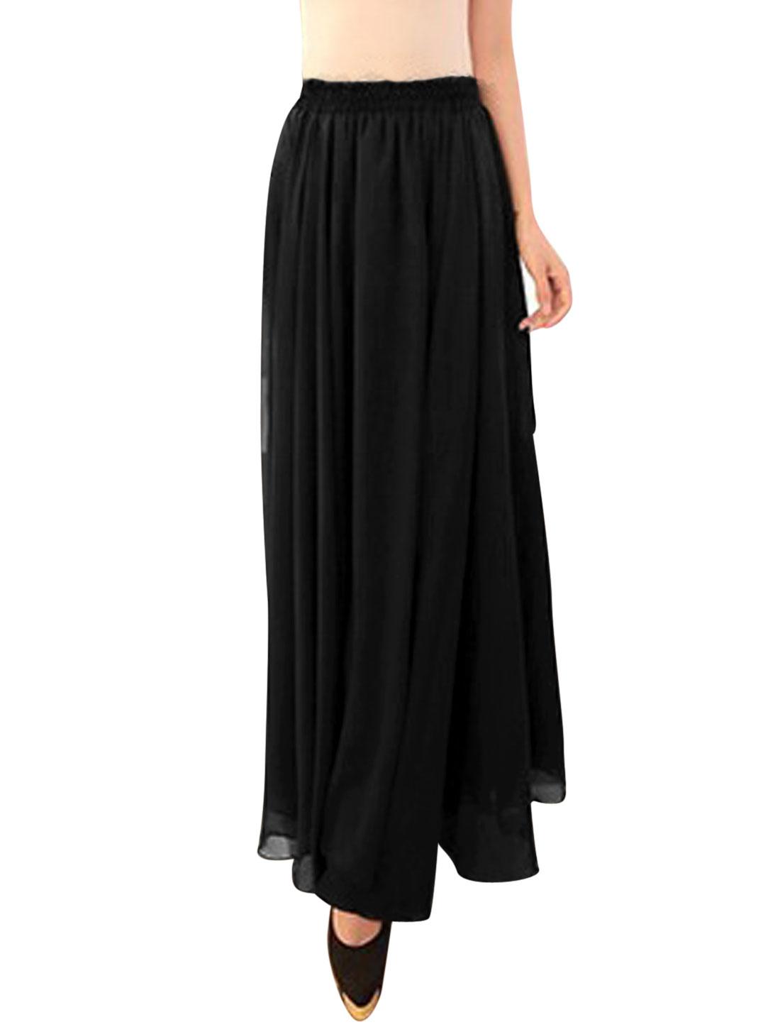 Women Mid Rise Elastic Waist Fully Lined Beach Summer Skirt Black S