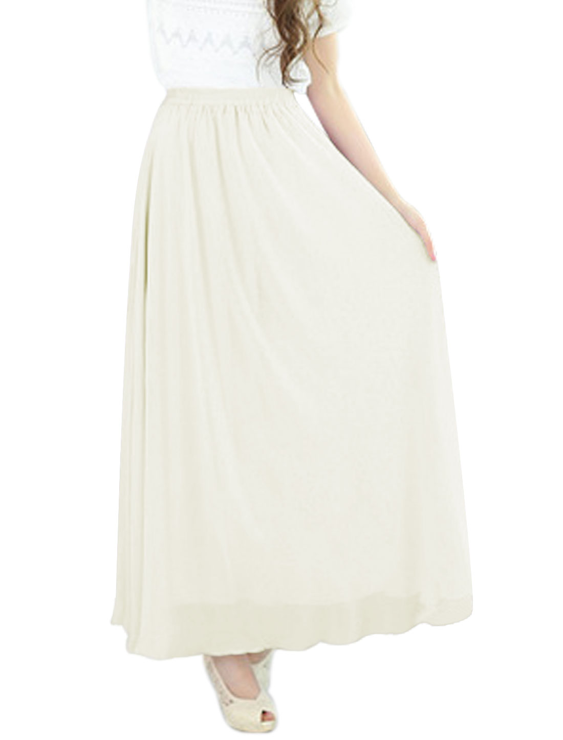 Ladies Mid Rise Elastic Waist Fully Lined Casual Maxi Skirt Beige S