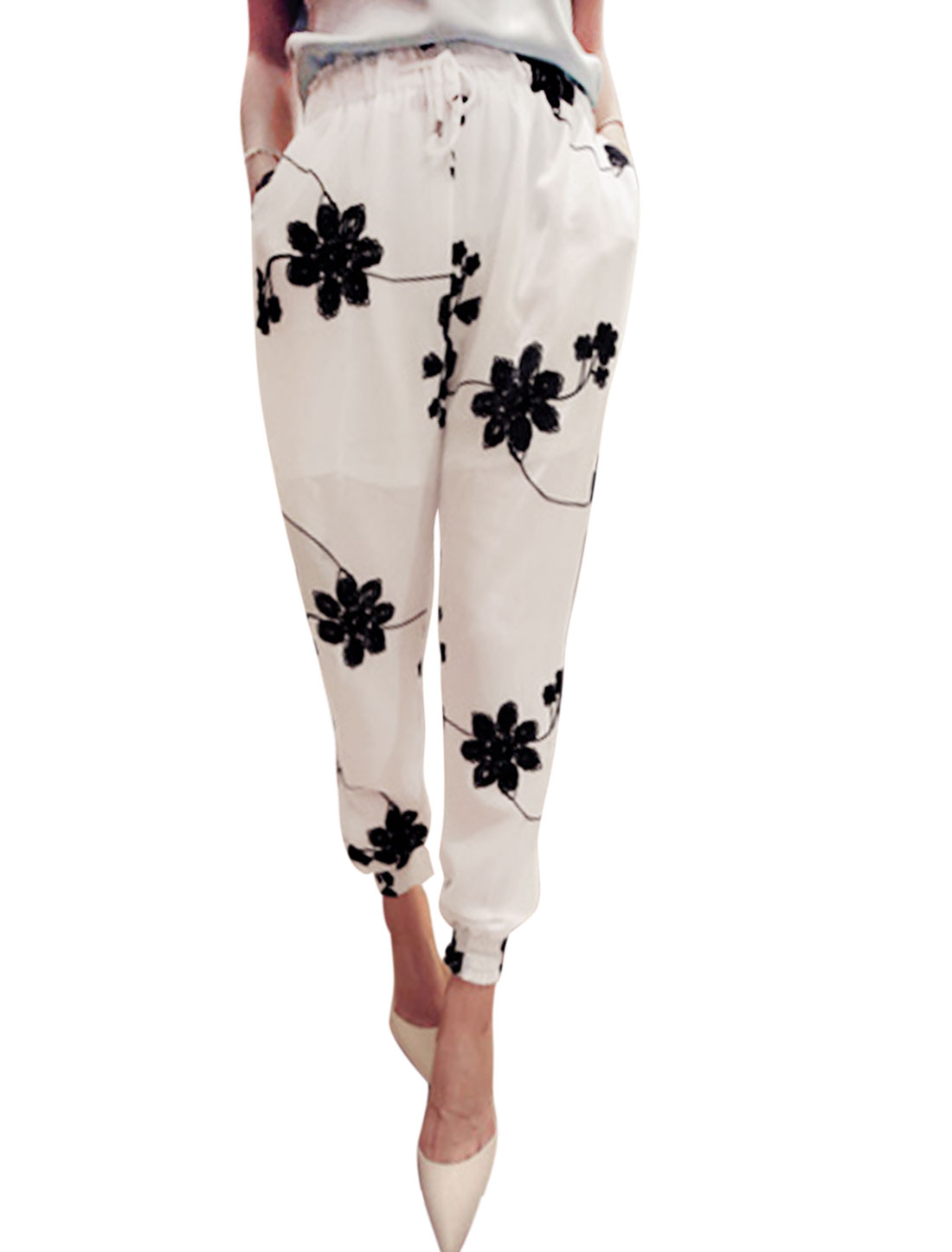 Woman Floral Embroidery Elastic Cuffs Casual Chiffon Cropped Pants White XS