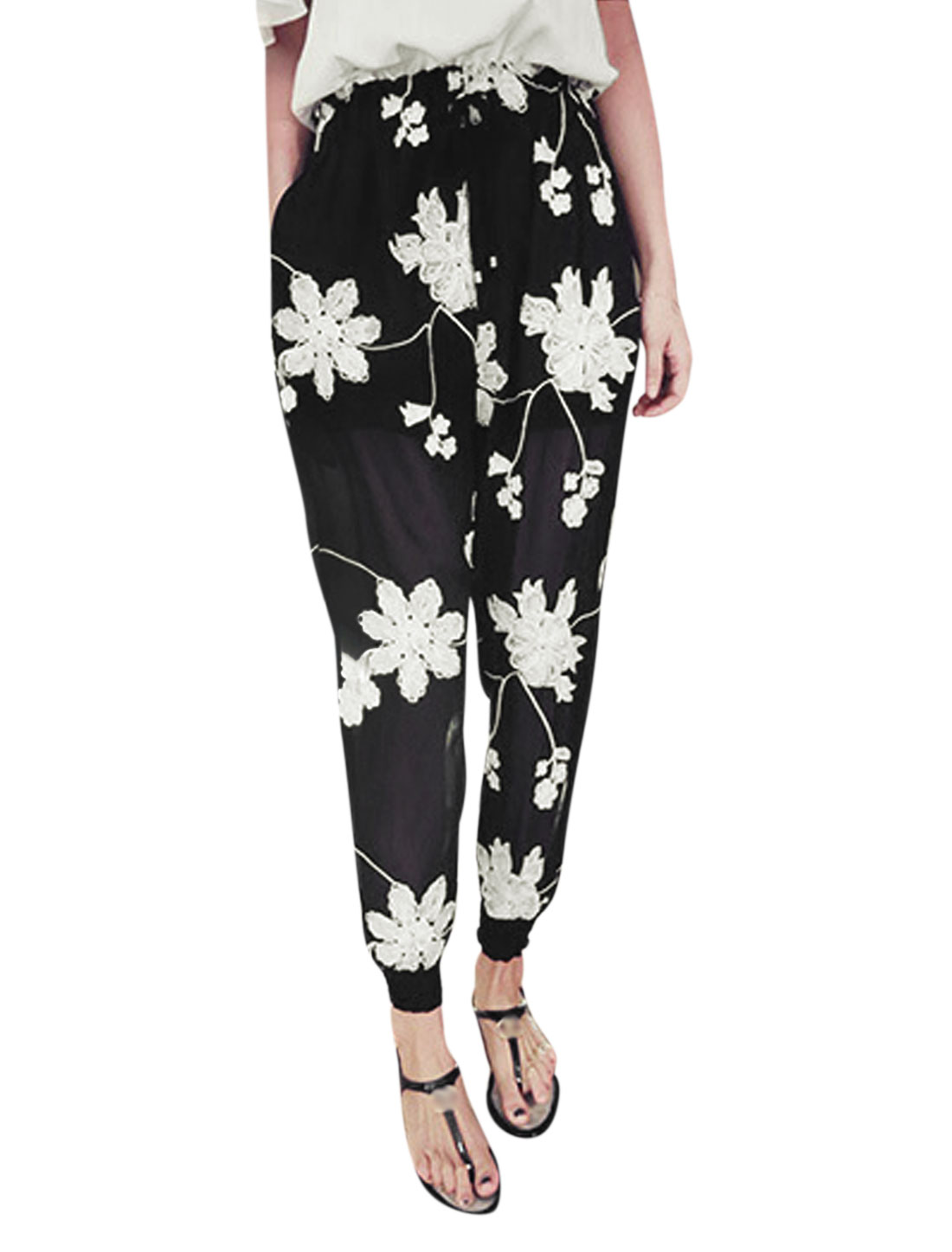 Lady Floral Embroidery Drawstring Waist Chiffon Cropped Pants Black XS