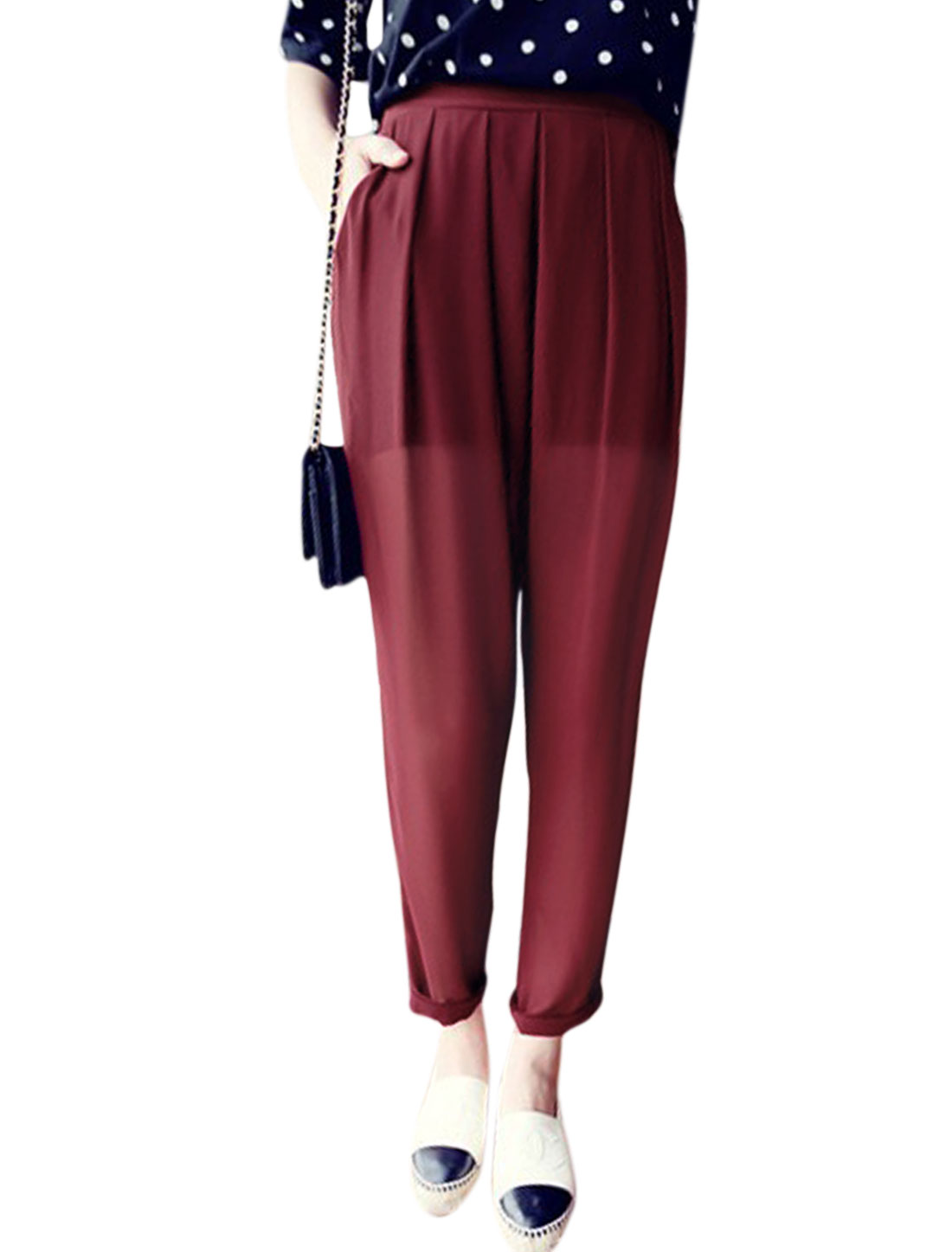 Woman Half Lined Slant Pockets Front Semi Sheer Chiffon Casual Pants Burgundy S