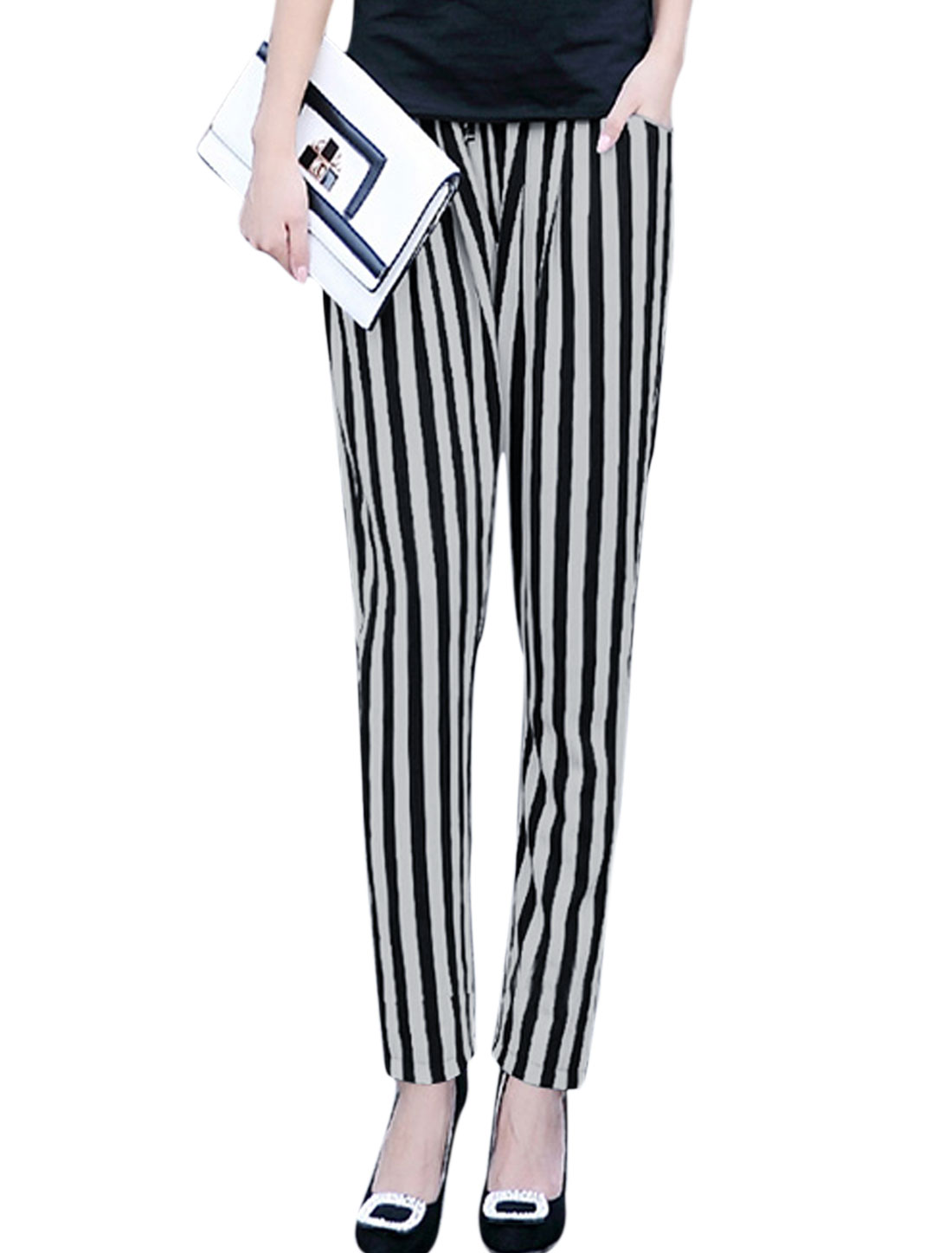 Woman Vertical Stripes Stretchy Waist Slant Pockets Chiffon Pants White Black XS