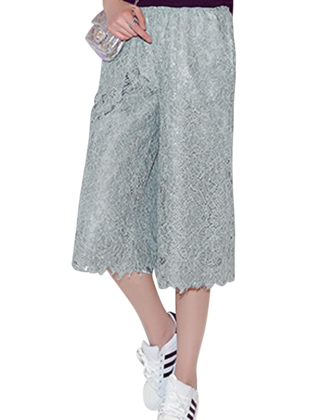 Ladies Mid Rise Elasic Waist Pockets Wide Leg Lace Capris Pants Dark Gray XS