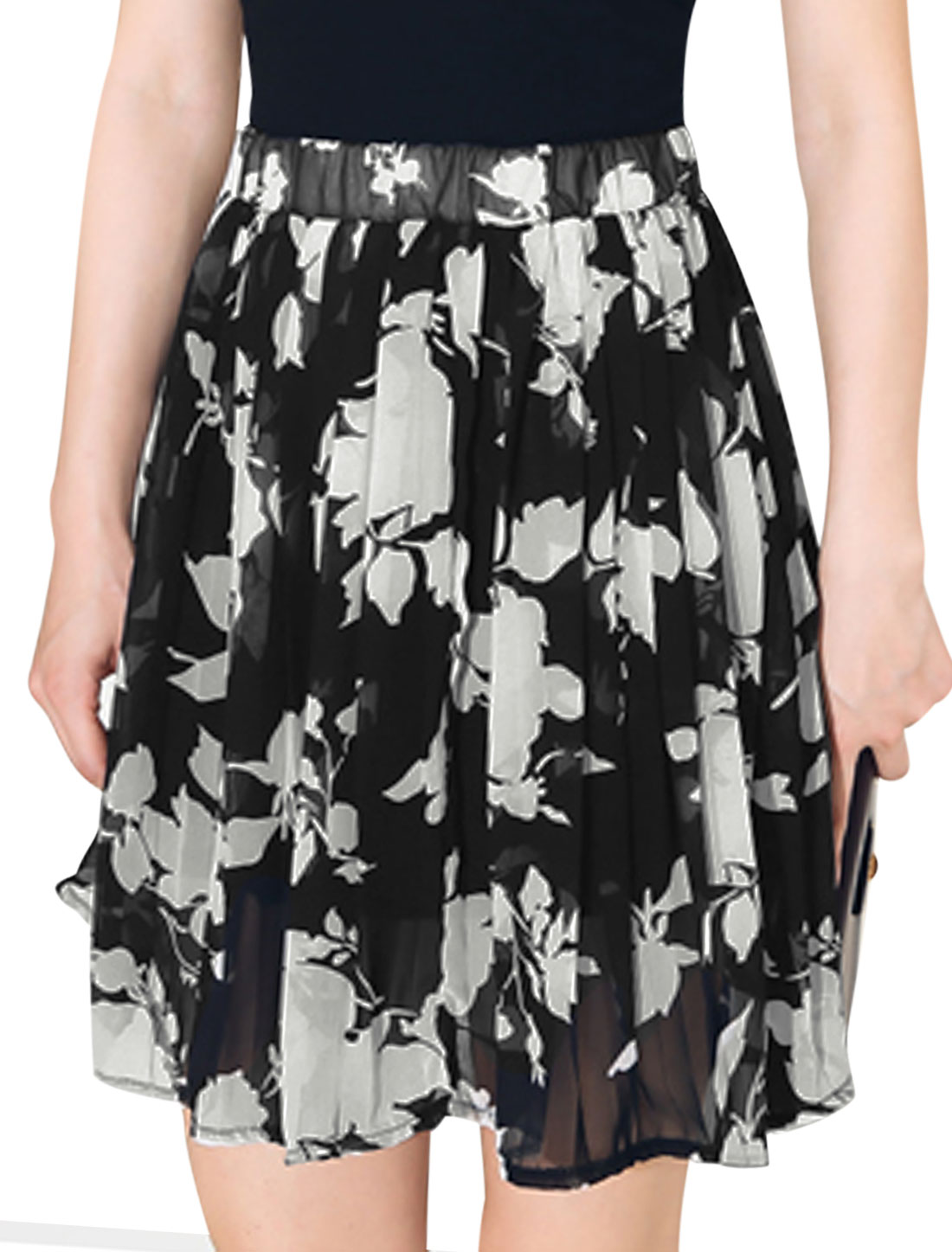 Ladies Mid Rise Elastic Waist Floral Print Casual Skirt Black White XS