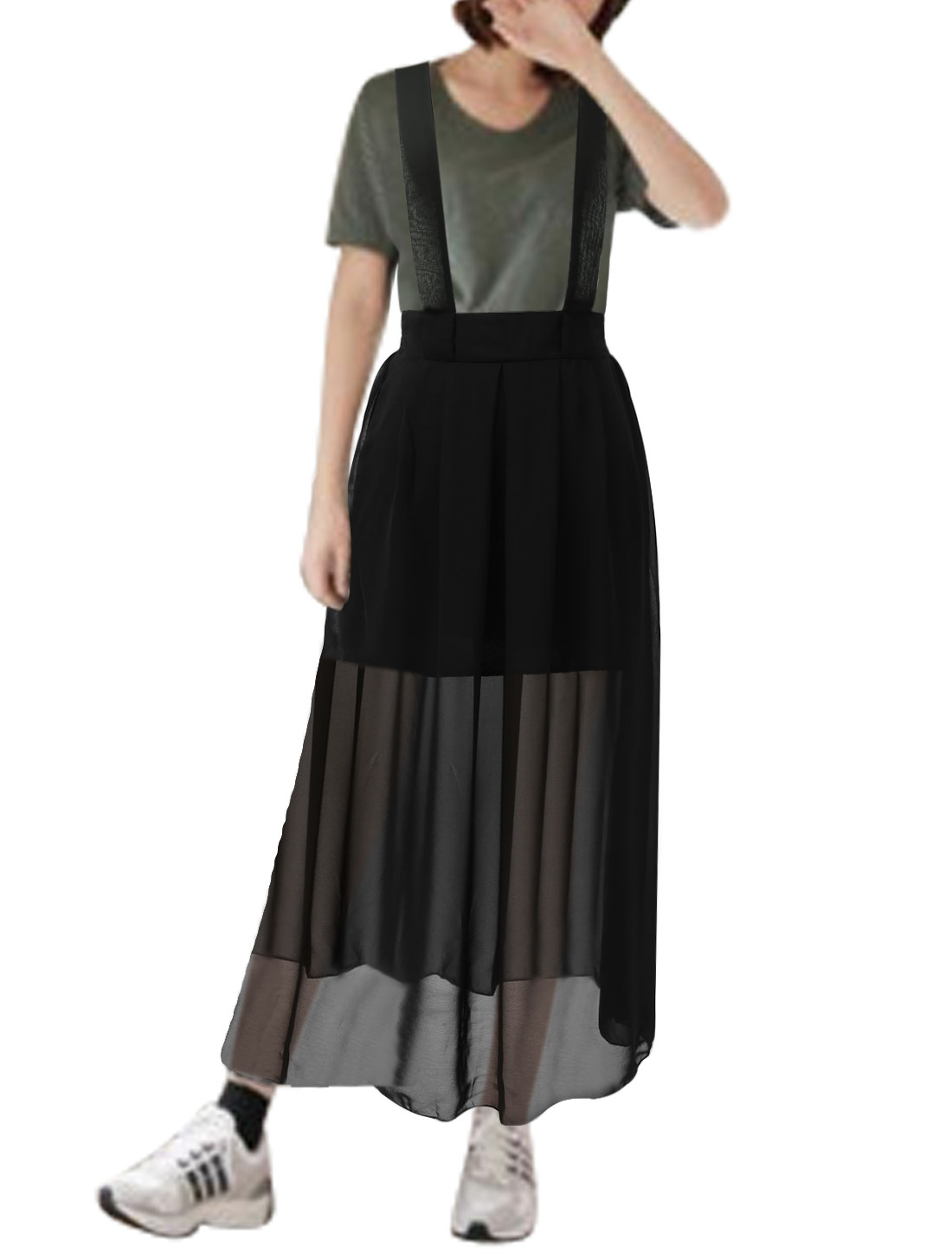 Women Elastic Waist Partial Lined Casual Chiffon Suspender Skirts Black XS