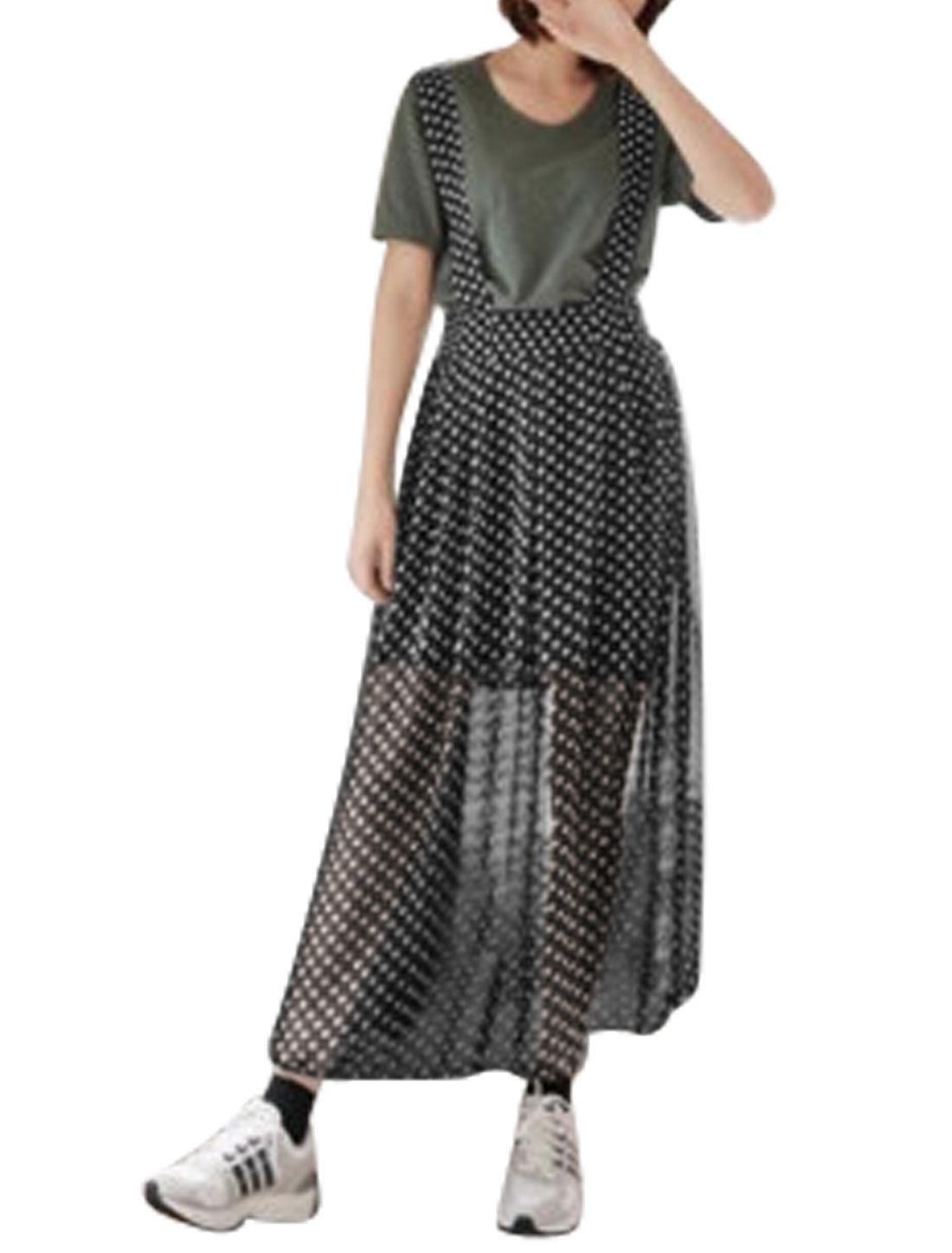 Ladies Elastic Waist Dots Casual Chiffon Suspender Skirts Black XS