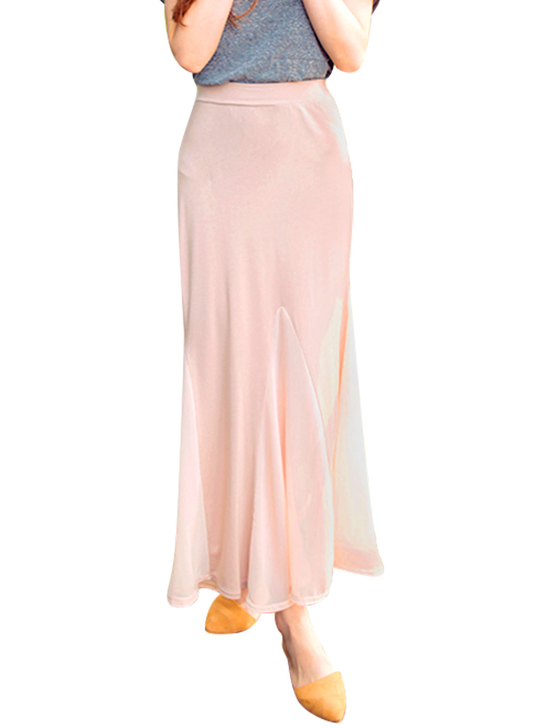 Ladies Elastic Waisted Unlined Panel Design Long Skirts Pale Pink S