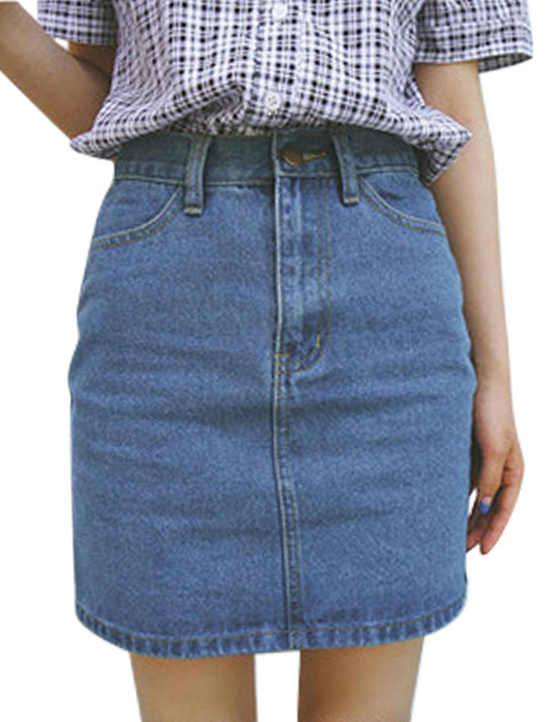 Women Natural Waist Unlined Two Hip Pockets Denim Skirts Blue M