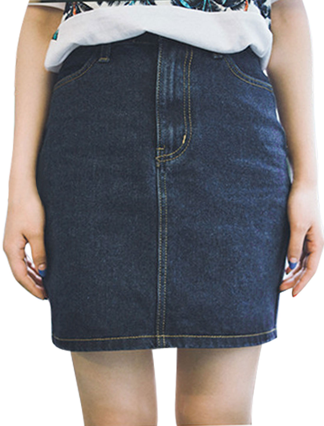 Ladies Natural Waist Unlined Zip Fly Denim Mini Skirts Dark Blue M