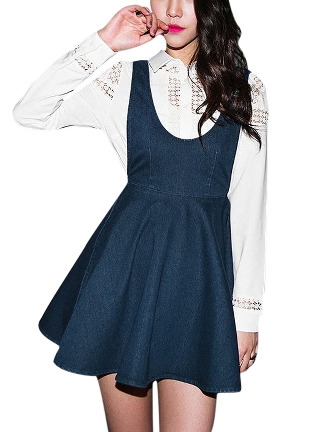 Woman Deep U Neck Sleeveless Open Back Denim Suspender Dress Blue XS