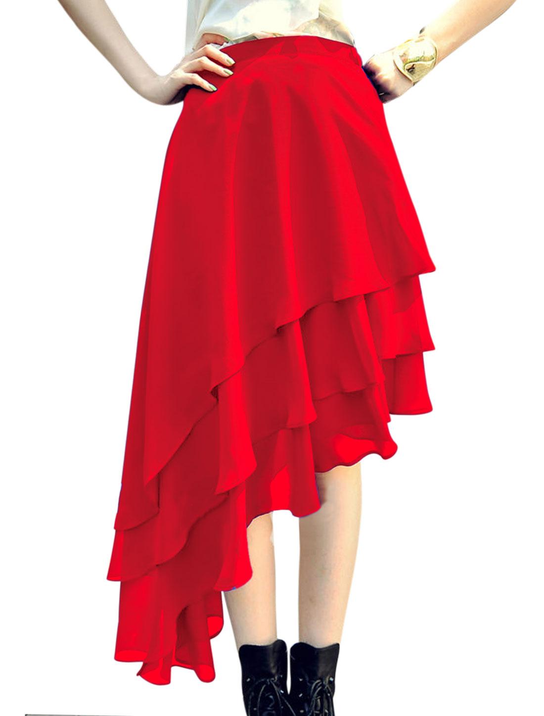 Woman Elastic Waist Band Asymmetrical Hem Chiffon Layered Skirt Red S