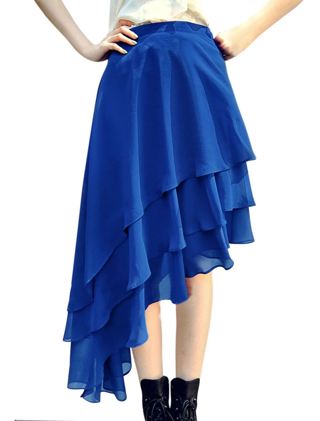 Women Elastic Waist Band Asymmetric Hem Chiffon Tiered Skirt Blue S