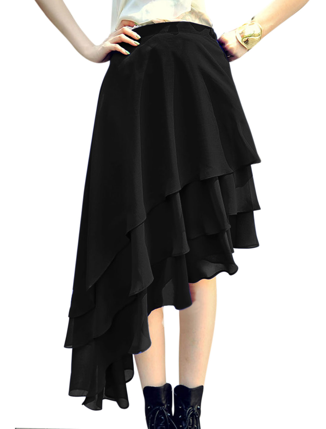 Ladies Elastic Waist Band Asymmetrical Hem Chiffon Tiered Skirt Black S