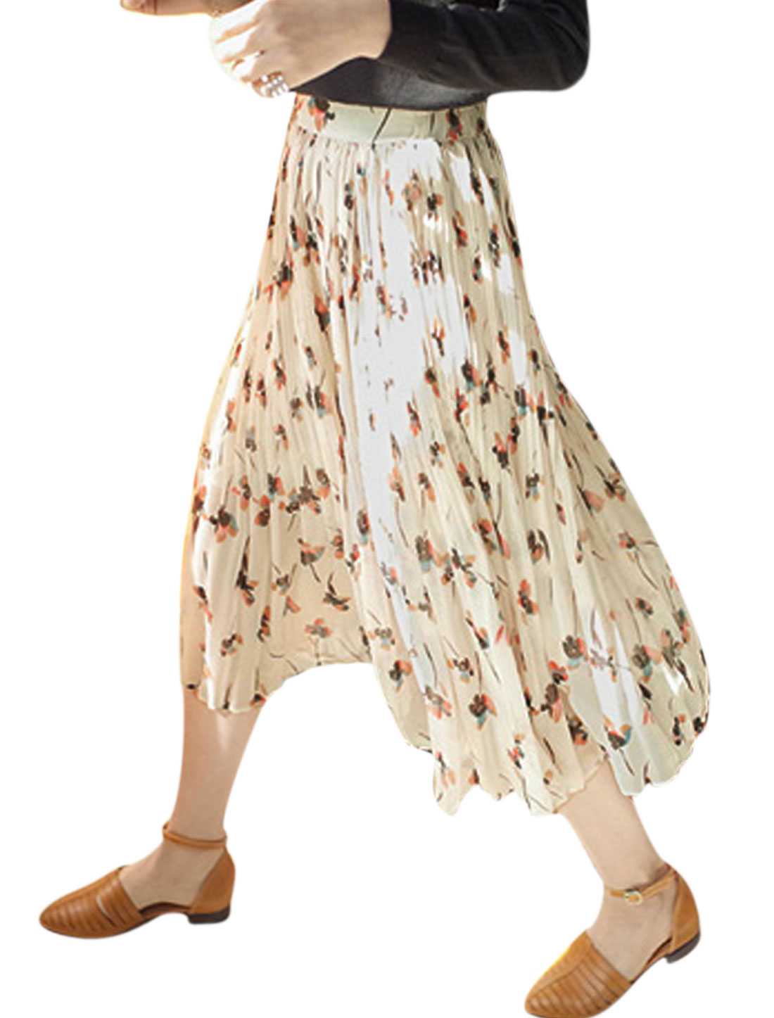 Lady Floral Prints Stretchy Waist Fully Lined Chiffon Pleated Skirt Beige XS