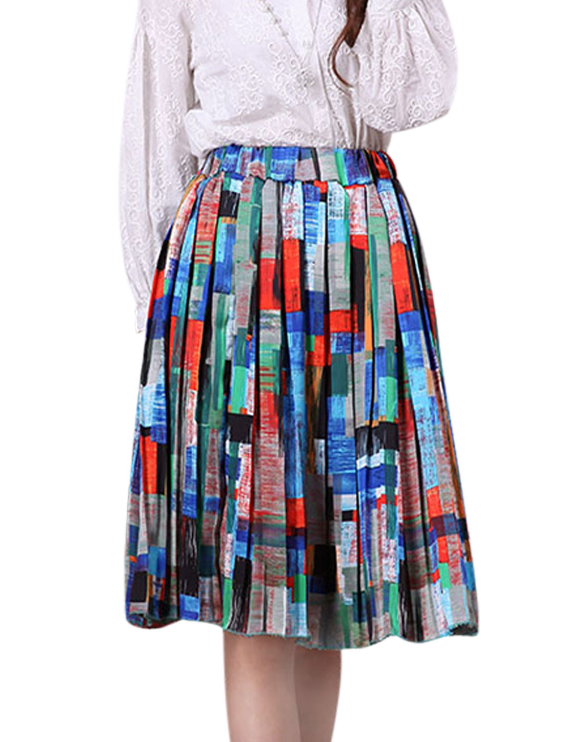 Women Elastic Waist Checkered Pattern Pleated Casual Skirts Multicolor XS