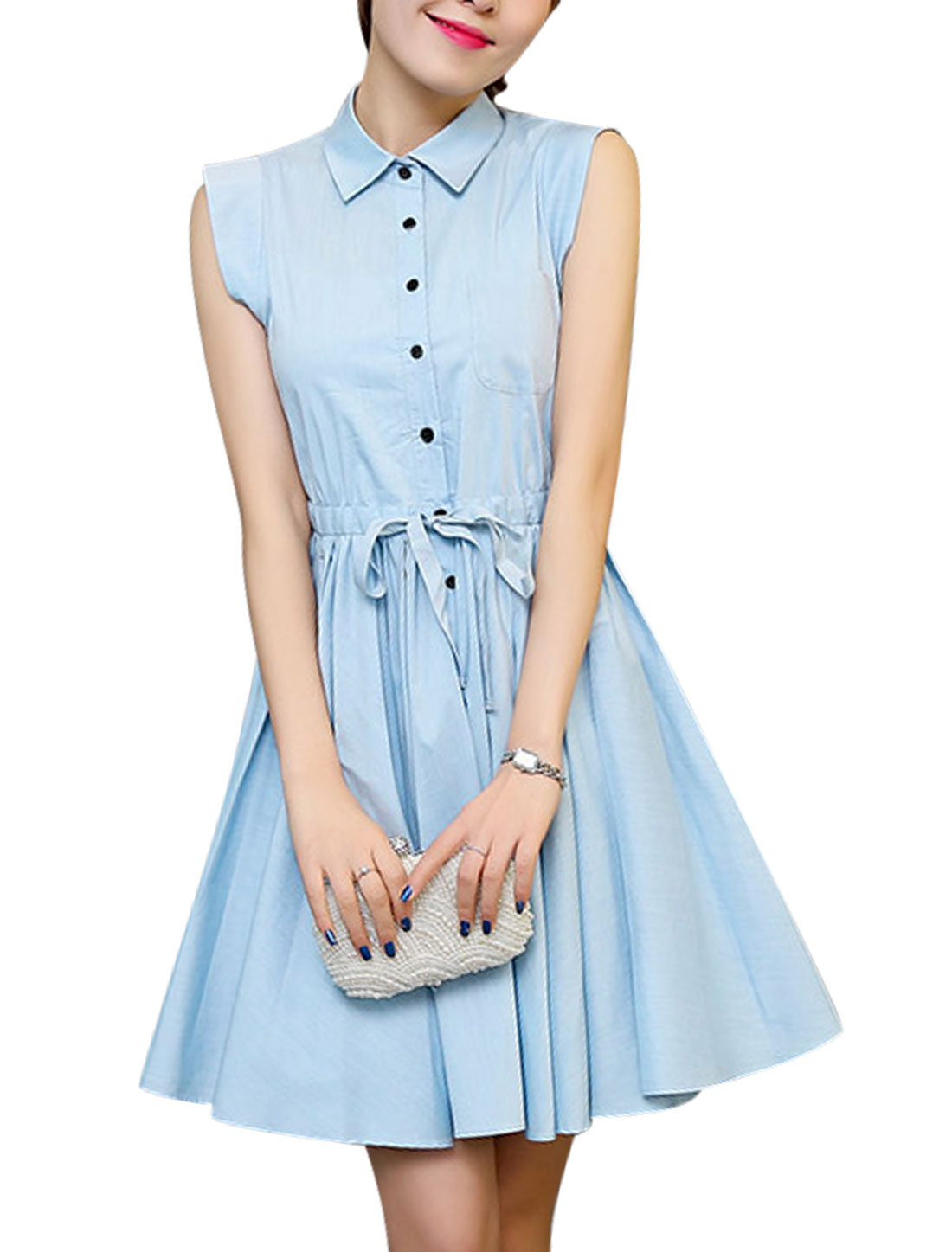 Women Point Collar Sleeveless Button Down Casual Shirt Dress Sky Blue M