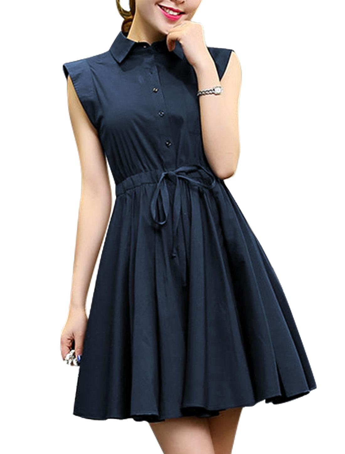 Ladies Point Collar Sleeveless Drawstring Unlined Shirt Dress Navy Blue M
