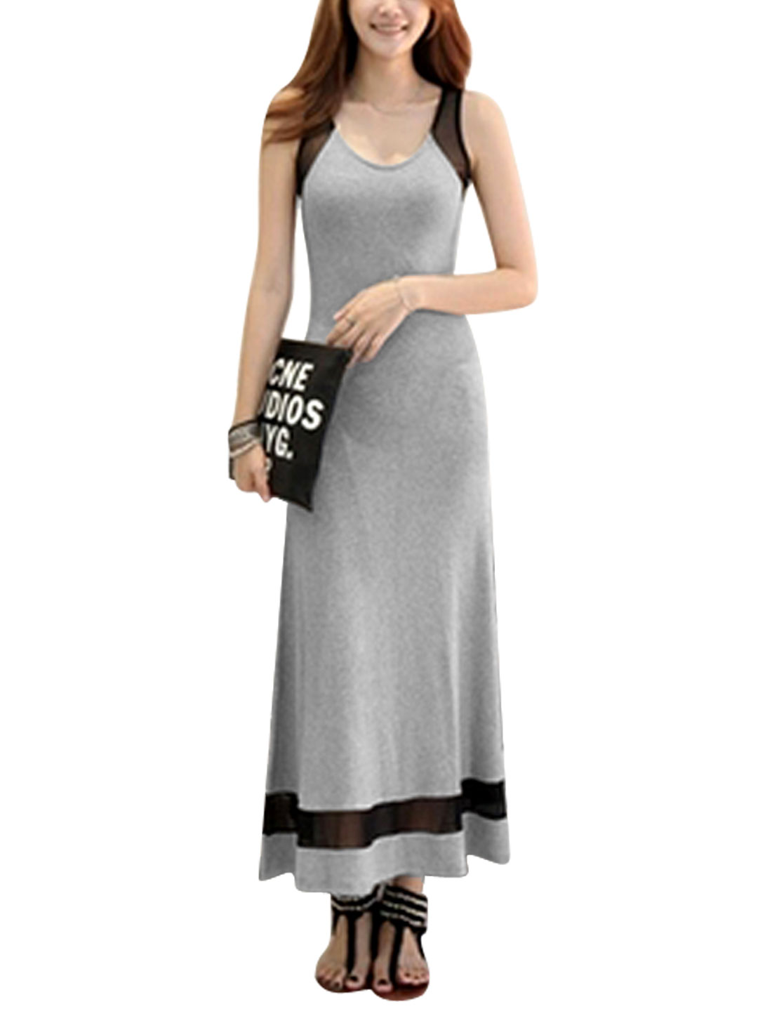 Ladies Sleeveless Round Neck Mesh Panel Contrast Color Maxi Dress Light Gray M