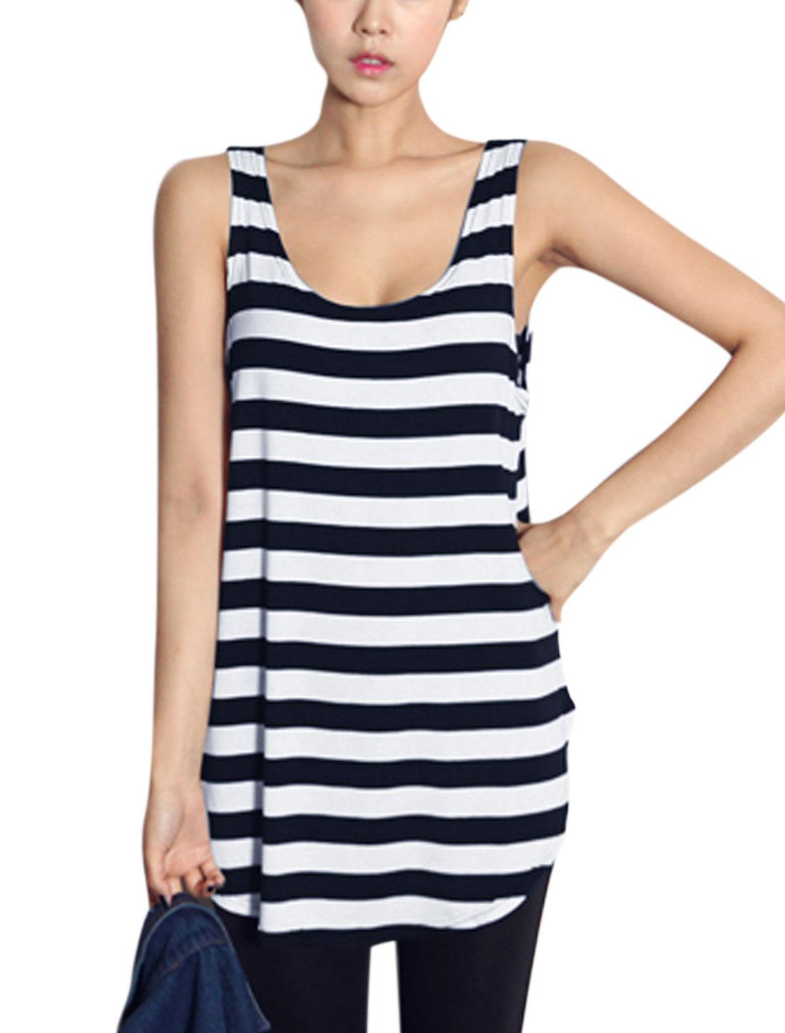 Woman Stripes Scoop Neck Sleeveless Round Hem Tunic Top Black White XS