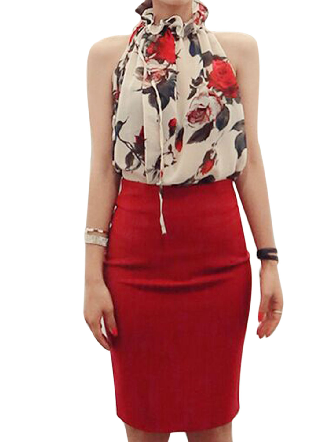 Ladies Sleeveless Floral Print Semi Sheer Casual Chiffon Blouse Beige Red XS