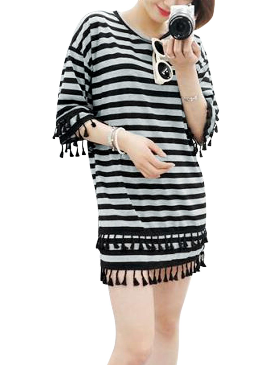 Ladies 3/4 Sleeve Round Neck Stripes Print Tassels Unlined Dress Black Gray S