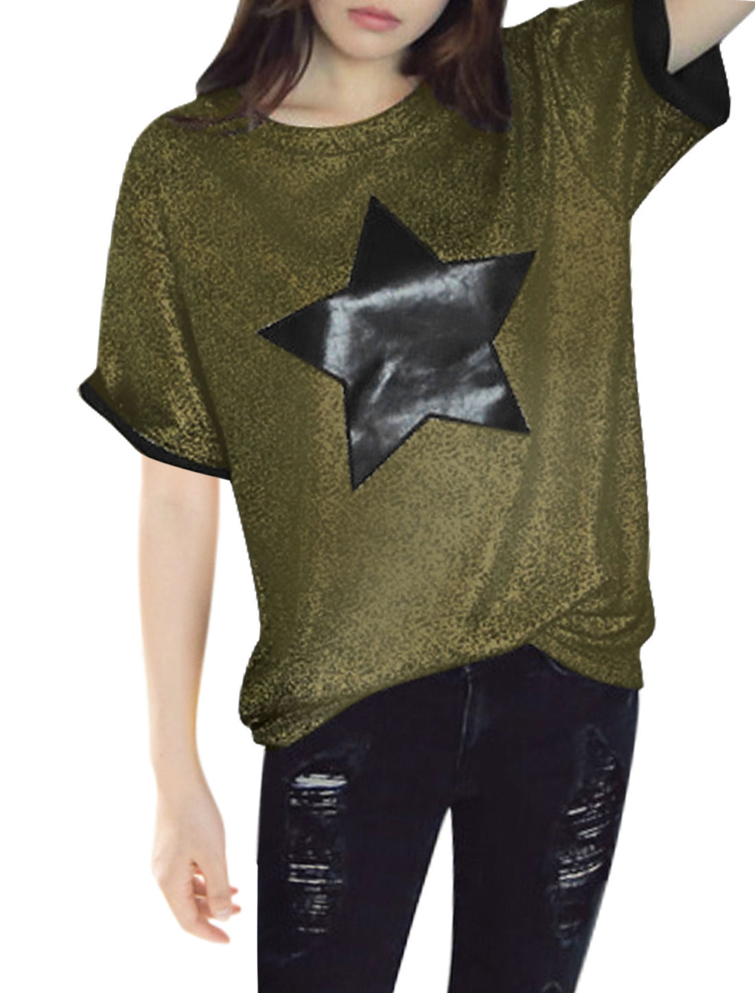 Ladies Short Sleeve Star Print Shinny Design Tunic T Shirt Gold Tone XS