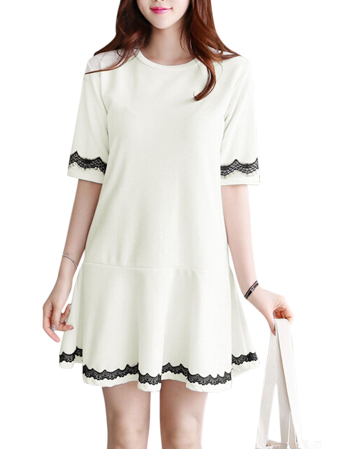 Ladies Half Sleeve Round Neck Panel Detail Unlined Casual Dress White M