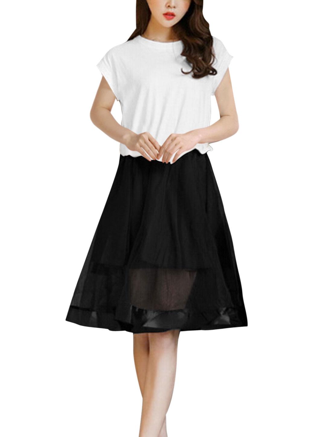 Ladies Short Sleeve Panel Color Block Skater Dress White Black S