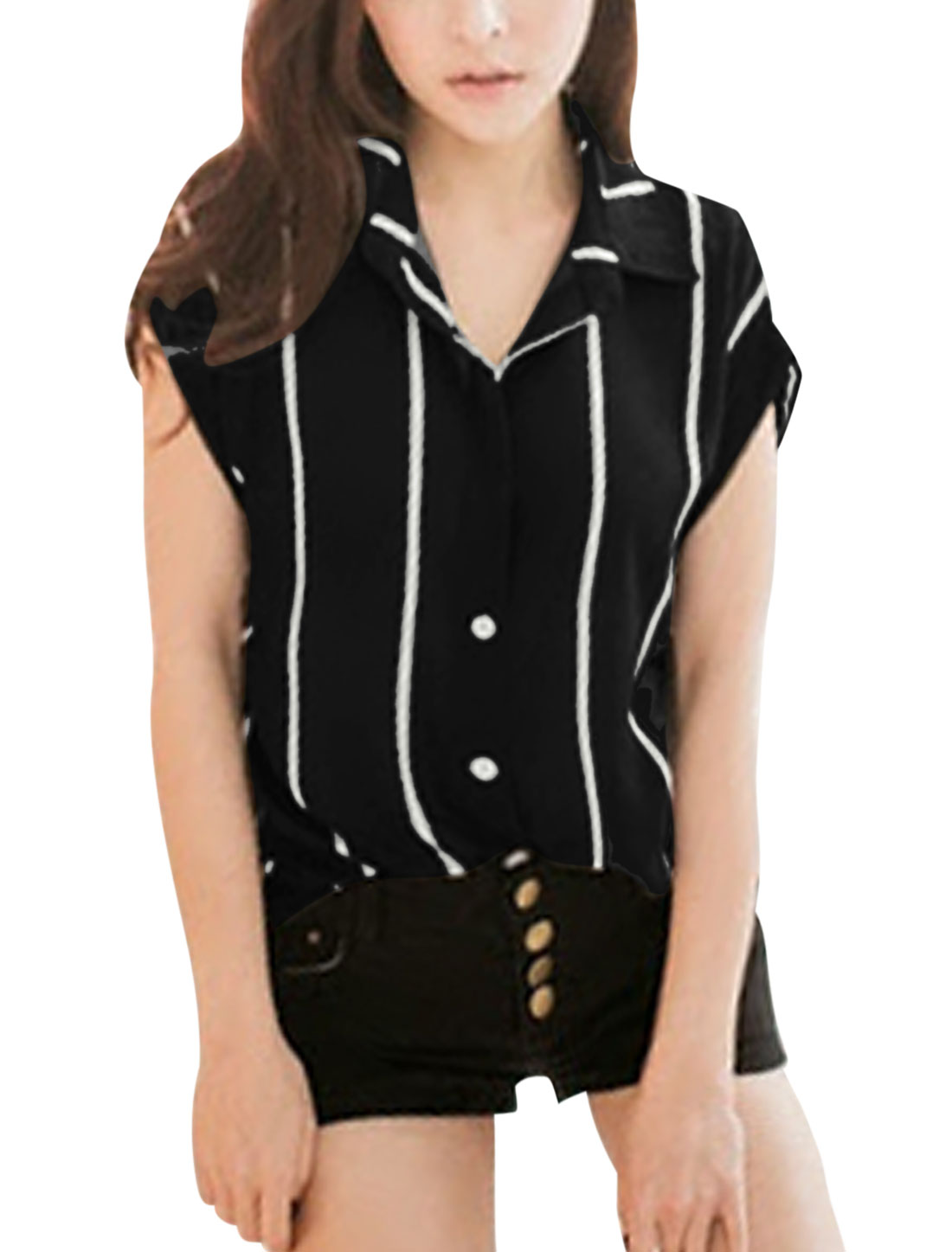 Ladies Button Up Batwing Sleeve Turn Down Collar Stripes Casual Shirt Black XS