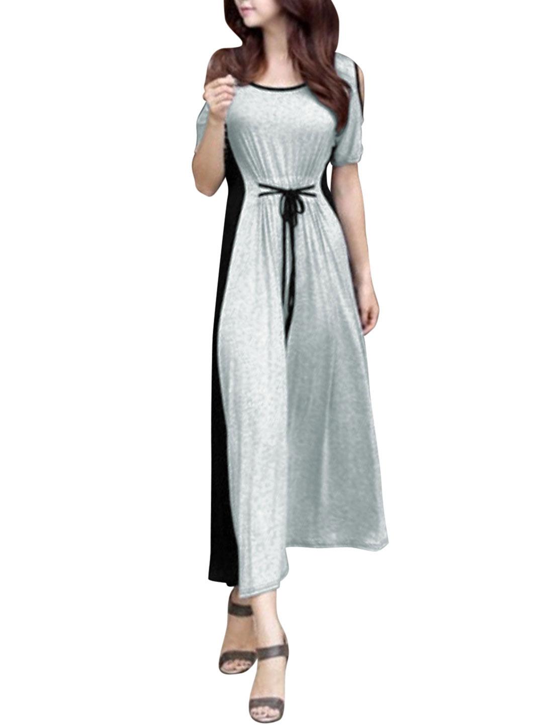 Ladies Short Sleeve Cut Out Shoulder Color Block Maxi Dress Gray Black XS