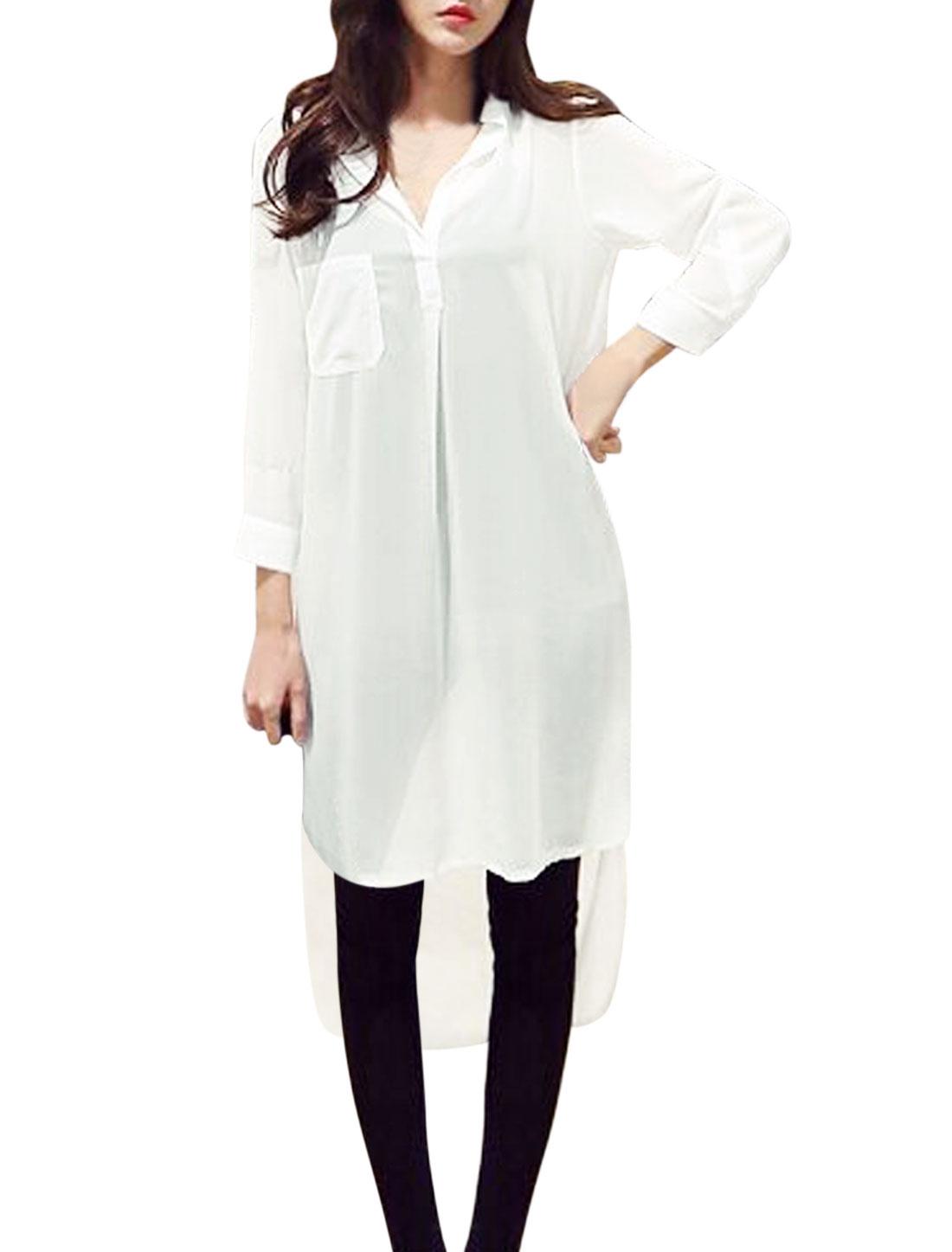 Ladies Bracelet Sleeve Asymmetric Hem Semi Sheer Casual Tunic Shirt White S