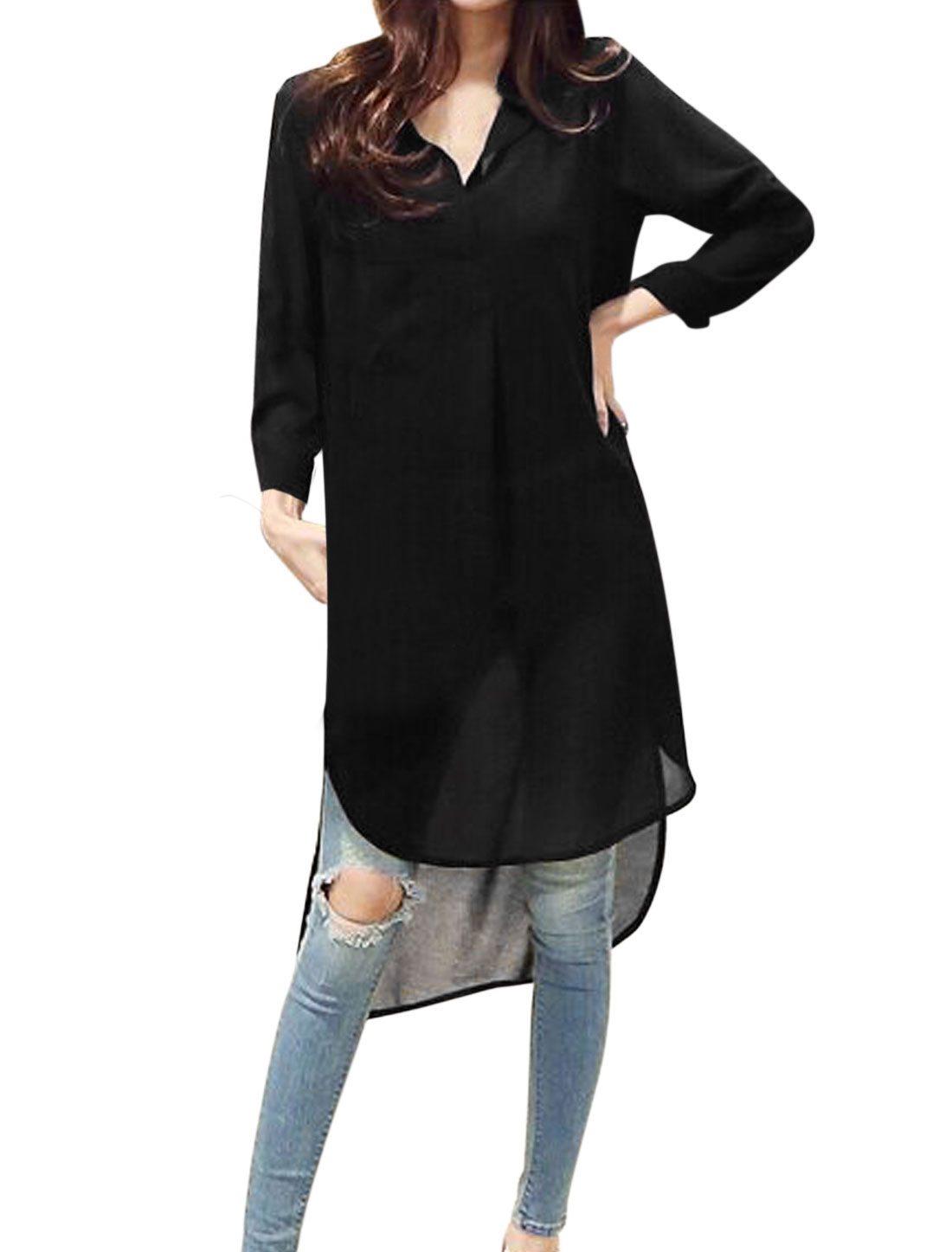 Ladies Bracelet Sleeve Asymmetric Hem Semi Sheer Casual Blouse Black S