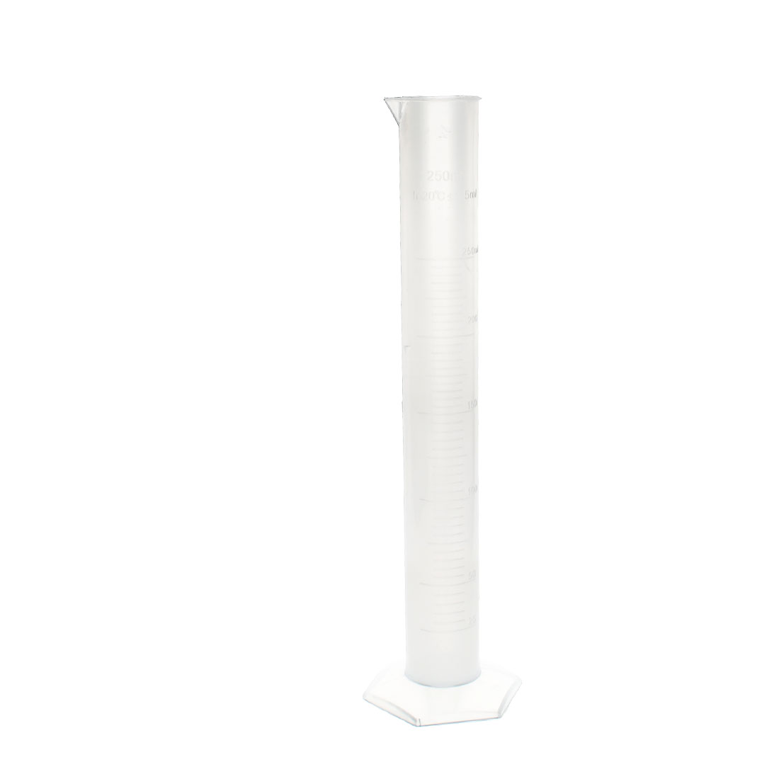 Lab Laboratory Test 250ml Capacity 2.5ml Tolerance Transparent Plastic Graduated Cylinder Measuring Cup 32cm High