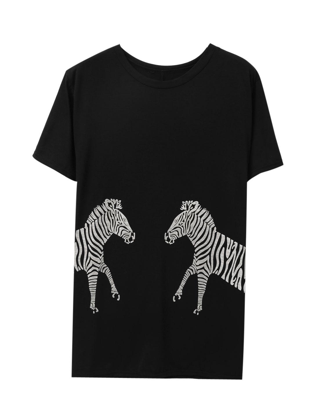 Ladies Short Sleeve Round Neck Zebra Prints Casual Tunic Top Black S