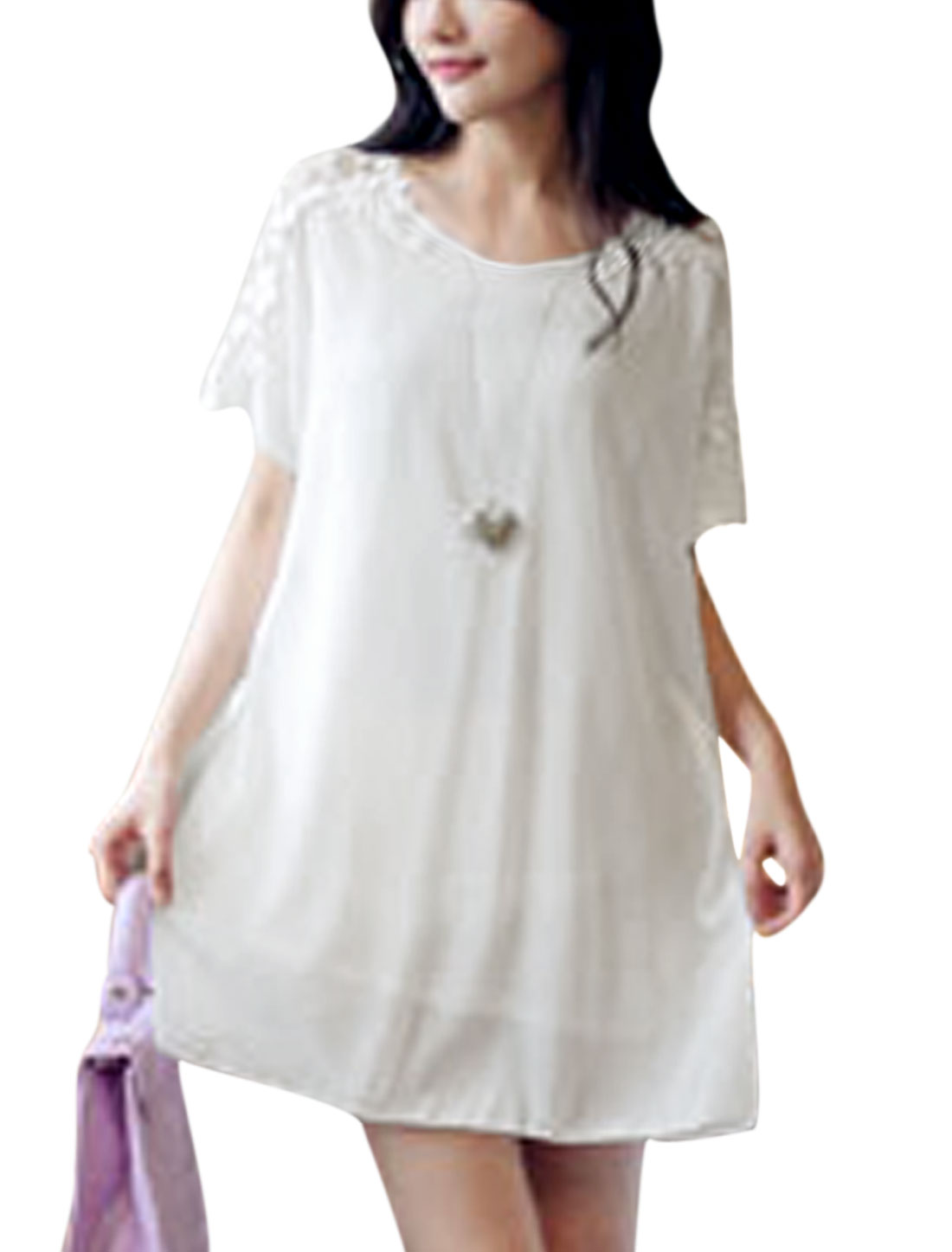 Woman Hollow Out Crochet Design Short Sleeves Fully Lined Tunic Dress White S