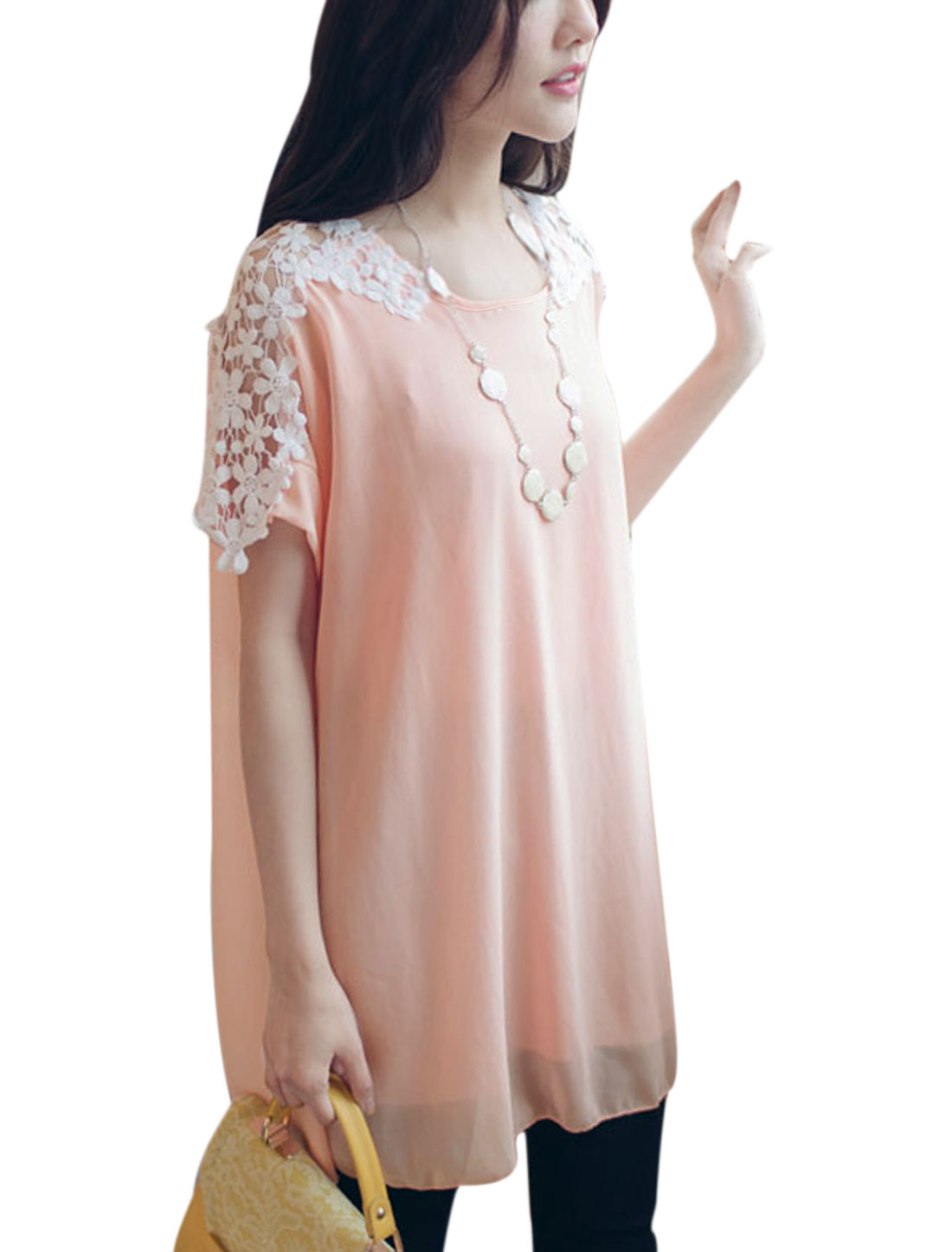 Woman Hollow Out Crochet Design Round Neck Short Sleeves Tunic Dress Pink S
