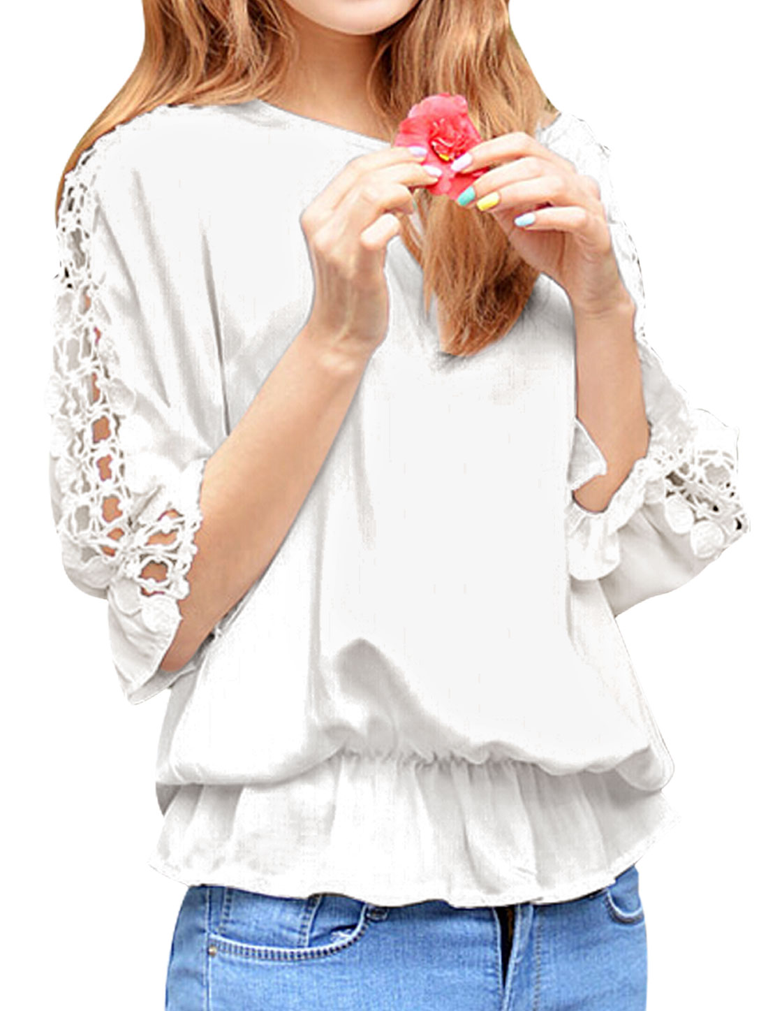 Women Round Neck 3/4 Batwing Sleeves Crochet Elastic Waist Casual Tops White S