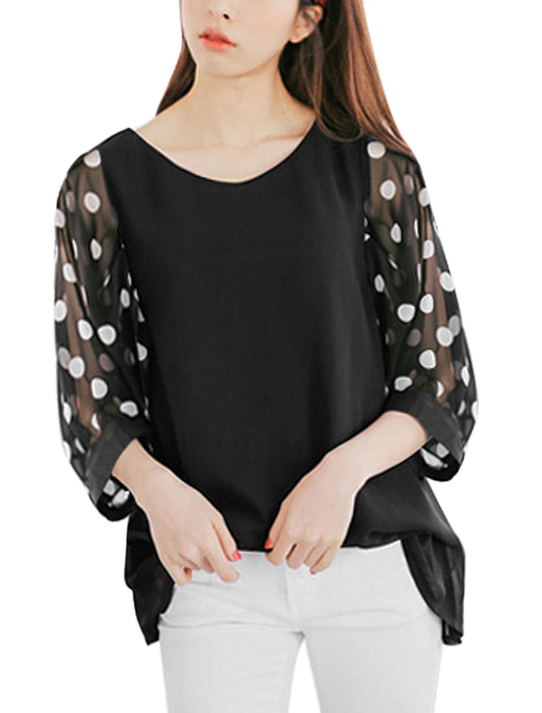 Ladies Round Neck 3/4 Semi Sheer Sleeves Polka Dots Chiffon Tops Black XS