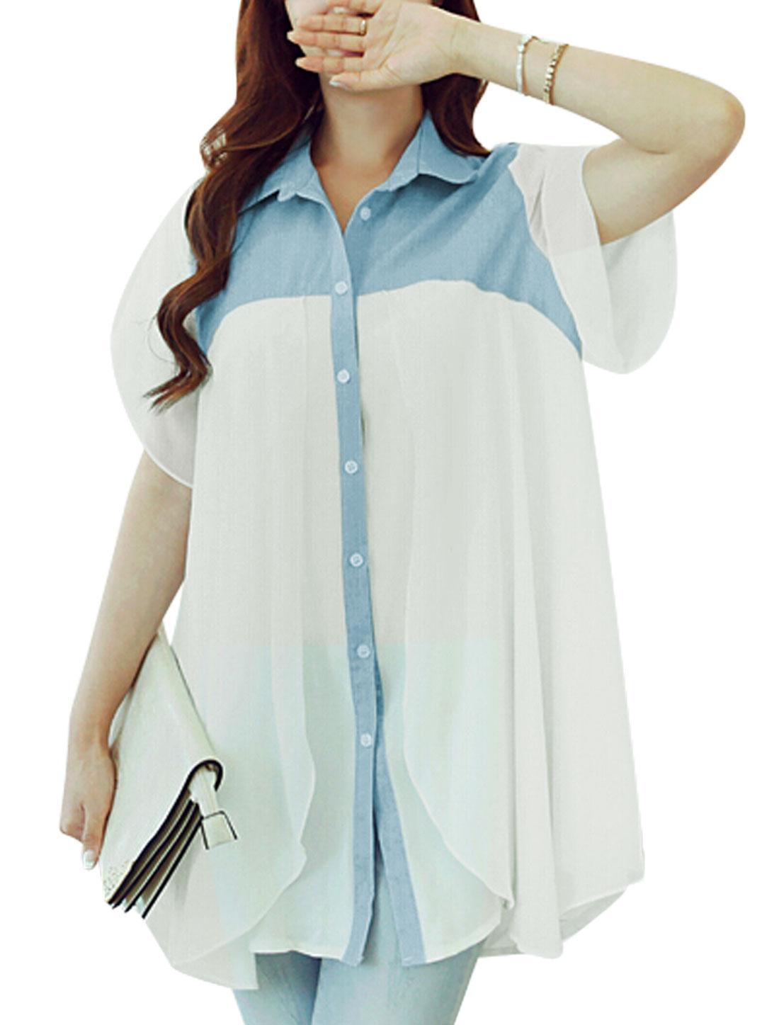 Women Point Collar Short Petal Sleeves Chiffon Tunic Shirts Light Blue White S