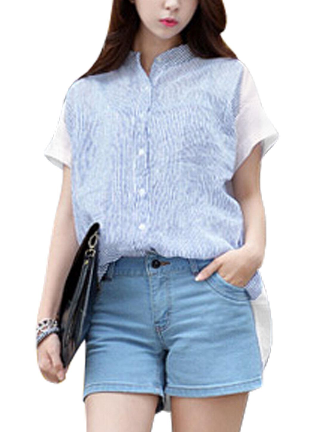 Ladies Button Up Stripes Panel Asymmetric Hem AShirt Sky Blue White XS