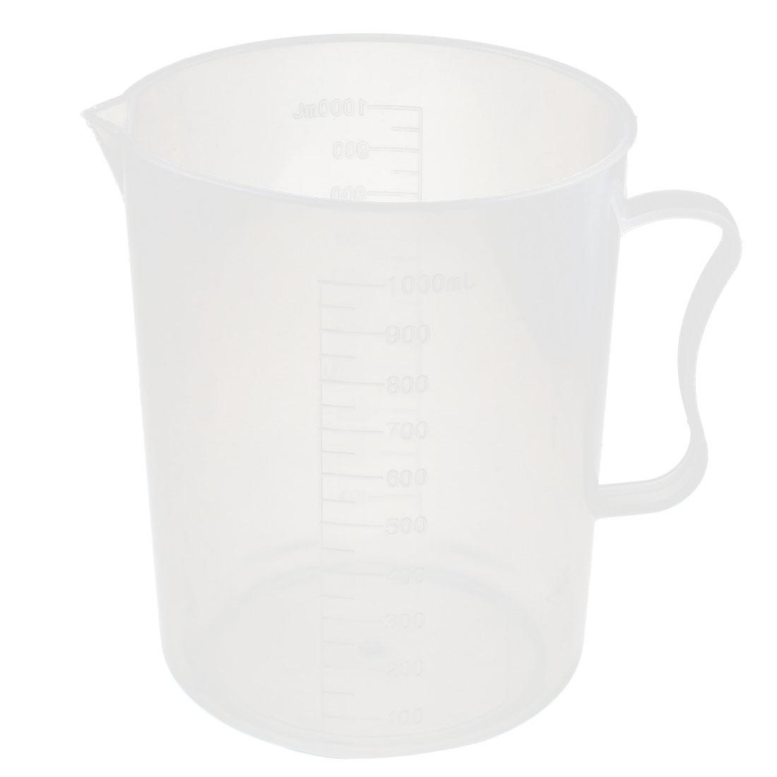 Lab Laboratory Chemistry Experiment 1000mL Graduated Plastic Liquid Water Testing Measuring Measure Cup w Handle