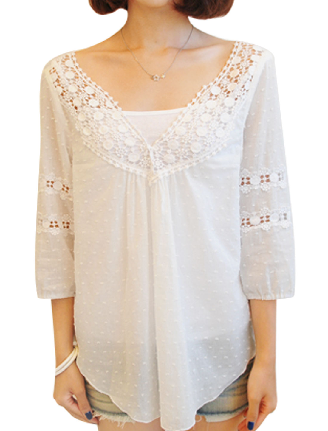 Women Deep V Neck 3/4 Sleeves Semi Sheer Casual Tops White M