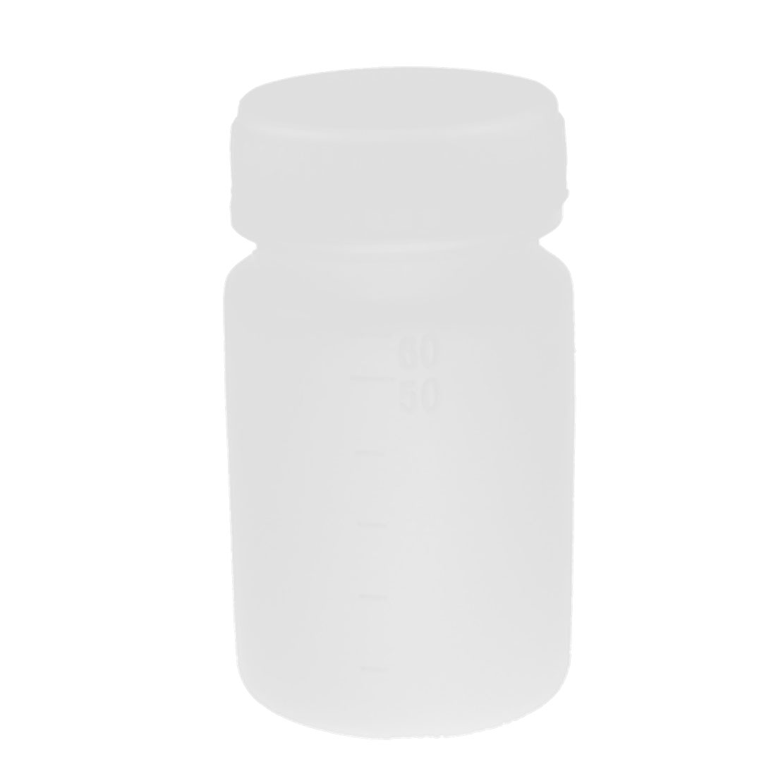 Lab Screw Lid White Plastic Graduated Chemicals Storage Container Reagent Bottle 60mL