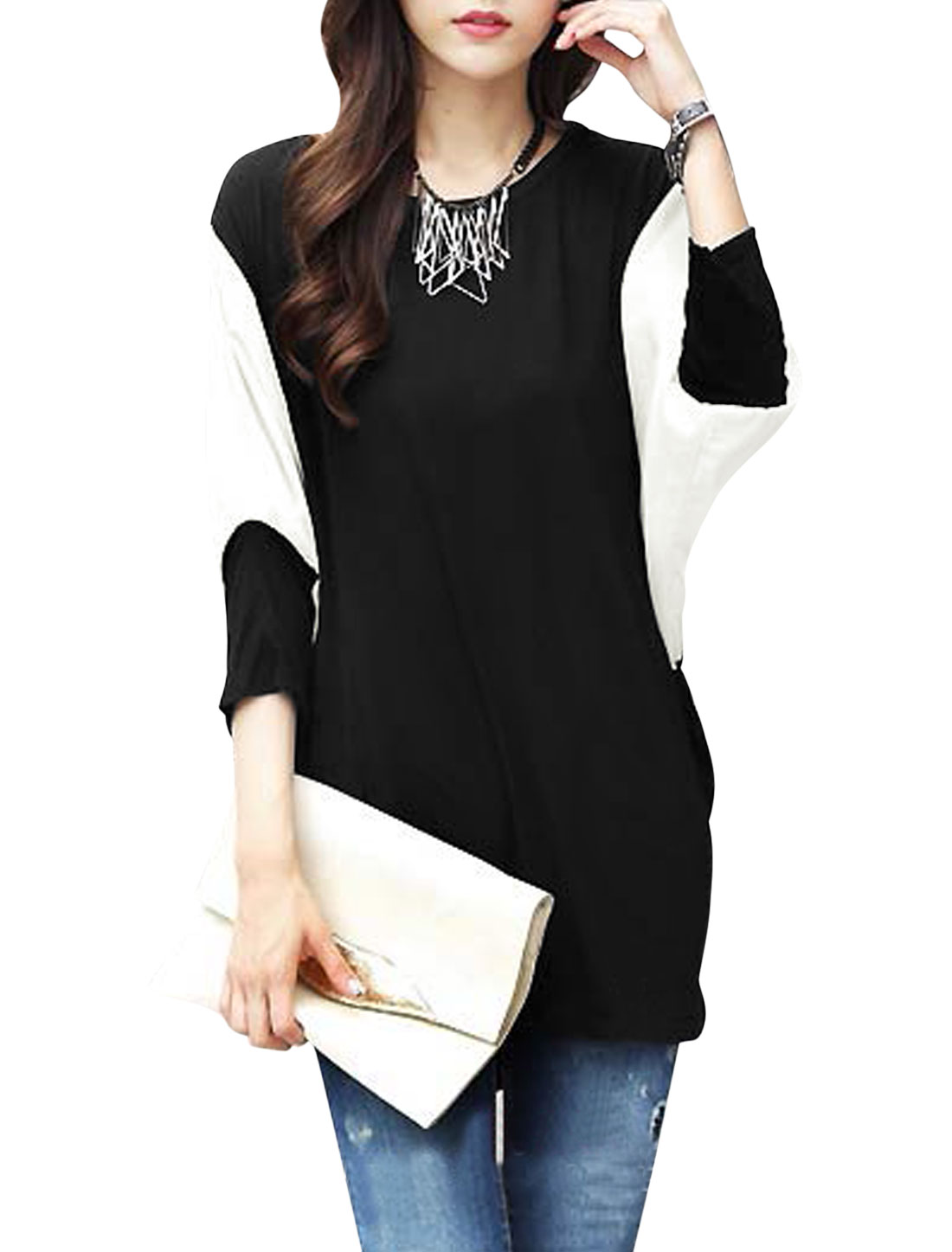 Women 3/4 Dolman Sleeve Round Neck Color Block Longline Casual Blouse Black S